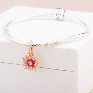🎆NWT Pandora Pink Daisy Flower Dangle Charm